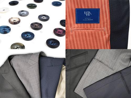 ボタン、襟、ポケット、裏地などのデザインを選びます。